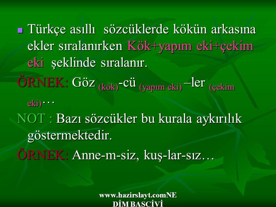 www.hazirslayt.comNE DİM BAŞÇİVİ Türkçe asıllı sözcüklerde kökün arkasına ekler sıralanırken Kök+yapım eki+çekim eki şeklinde sıralanır.