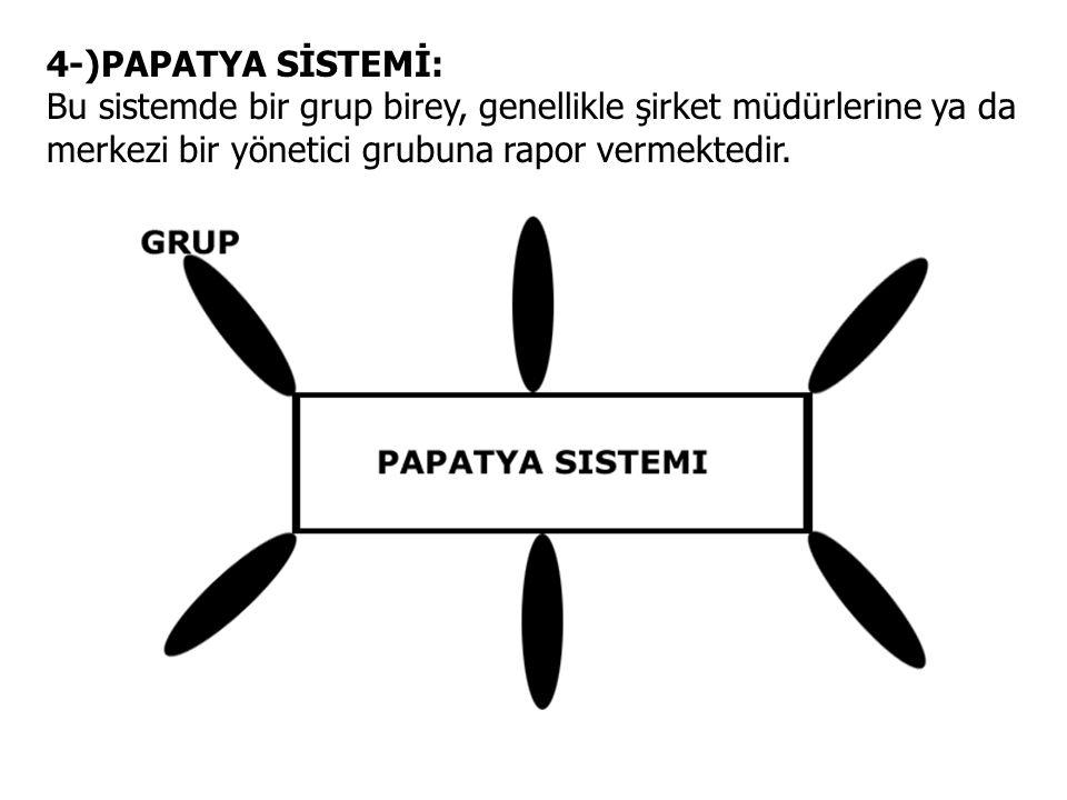 4-)PAPATYA SİSTEMİ: Bu sistemde bir grup birey, genellikle şirket müdürlerine ya da merkezi bir yönetici grubuna rapor vermektedir.