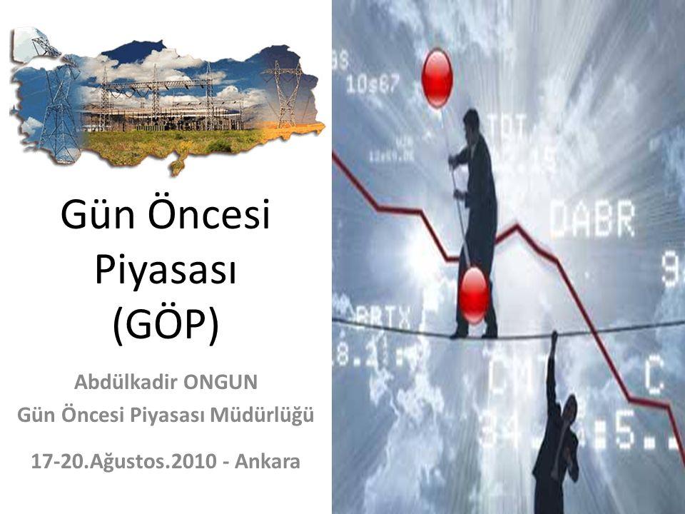 Gün Öncesi Piyasası (GÖP) Abdülkadir ONGUN Gün Öncesi Piyasası Müdürlüğü 17-20.Ağustos.2010 - Ankara