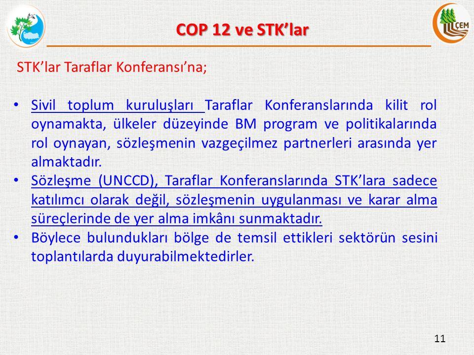 STK'lar Taraflar Konferansı'na; Sivil toplum kuruluşları Taraflar Konferanslarında kilit rol oynamakta, ülkeler düzeyinde BM program ve politikalarında rol oynayan, sözleşmenin vazgeçilmez partnerleri arasında yer almaktadır.