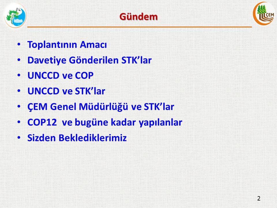 Gündem Toplantının Amacı Davetiye Gönderilen STK'lar UNCCD ve COP UNCCD ve STK'lar ÇEM Genel Müdürlüğü ve STK'lar COP12 ve bugüne kadar yapılanlar Sizden Beklediklerimiz 2