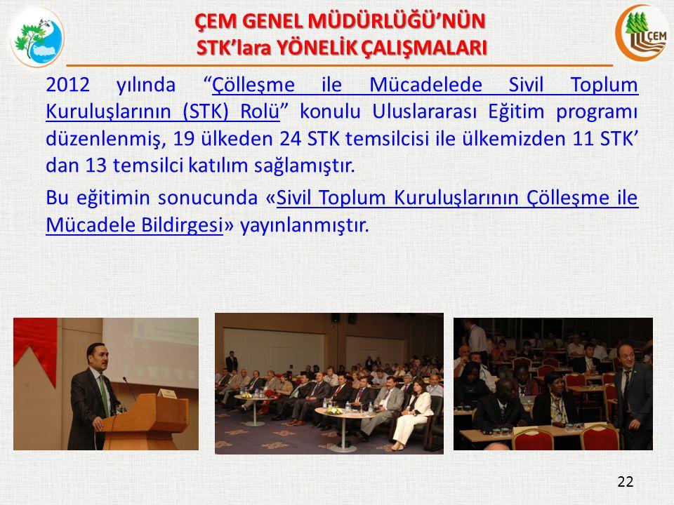 2012 yılında Çölleşme ile Mücadelede Sivil Toplum Kuruluşlarının (STK) Rolü konulu Uluslararası Eğitim programı düzenlenmiş, 19 ülkeden 24 STK temsilcisi ile ülkemizden 11 STK' dan 13 temsilci katılım sağlamıştır.Çölleşme ile Mücadelede Sivil Toplum Kuruluşlarının (STK) Rolü Bu eğitimin sonucunda «Sivil Toplum Kuruluşlarının Çölleşme ile Mücadele Bildirgesi» yayınlanmıştır.Sivil Toplum Kuruluşlarının Çölleşme ile Mücadele Bildirgesi 22 ÇEM GENEL MÜDÜRLÜĞÜ'NÜN STK'lara YÖNELİK ÇALIŞMALARI