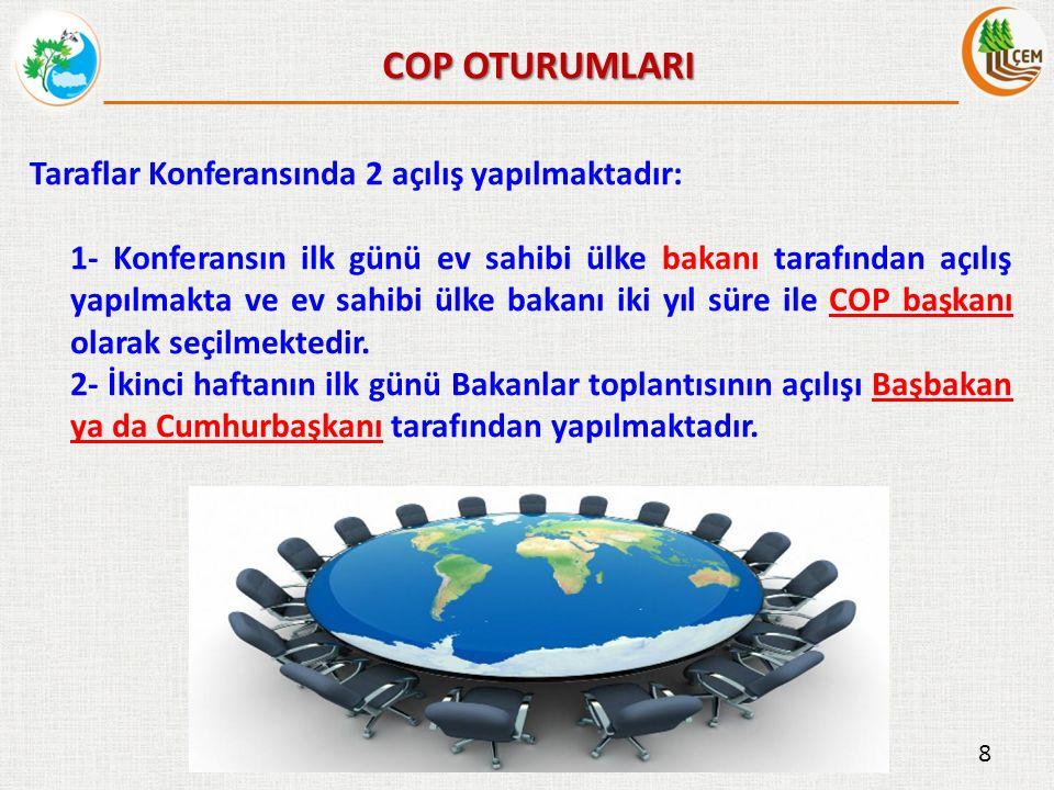 Taraflar Konferansı (COP) süresince yapılan oturumlar;  Bilim ve Teknoloji Komitesi (CST),  Sözleşmenin Uygulamalarının Gözden Geçirilmesi Komitesi (CRIC),  Bakanlar Toplantısı,  Parlamenterler Toplantısı,  İş Forumu,  Bölgesel Uygulama Grupları,  BM Siyasi Bölge Grupları,  STK Toplantıları,  RIO Sözleşmeleri Ortak Toplantısı.