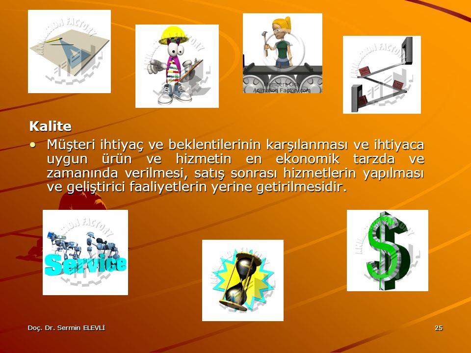 Doç. Dr. Sermin ELEVLİ25 Kalite Müşteri ihtiyaç ve beklentilerinin karşılanması ve ihtiyaca uygun ürün ve hizmetin en ekonomik tarzda ve zamanında ver