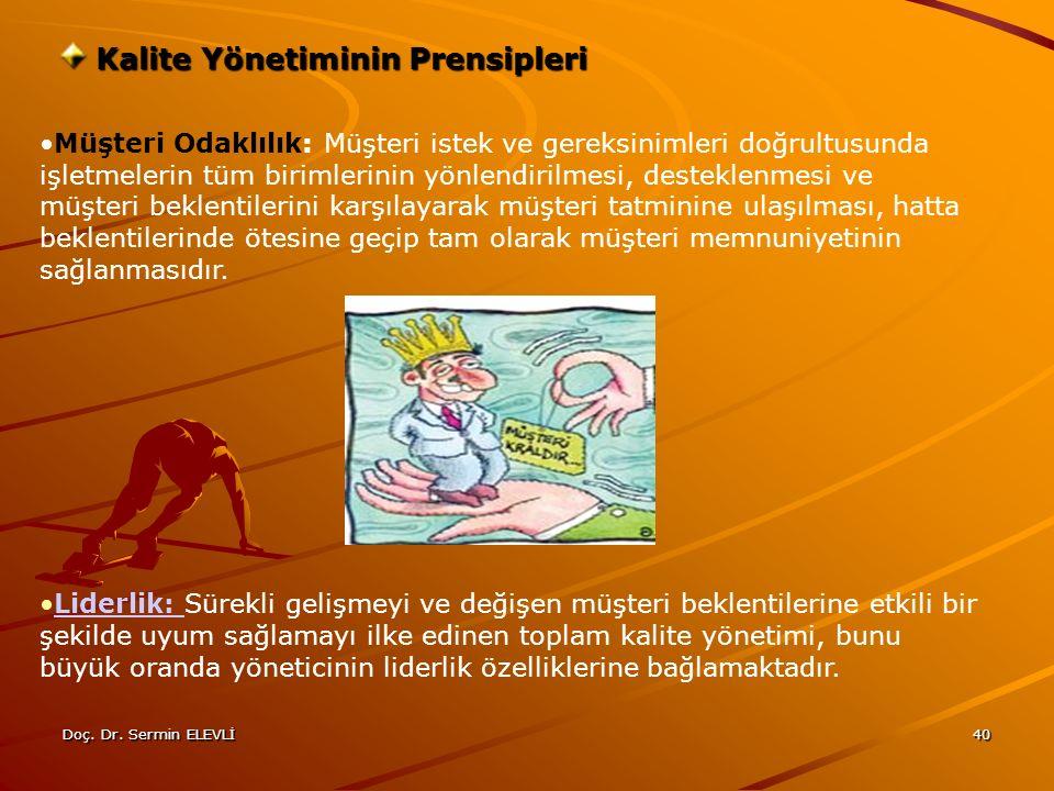 Doç. Dr. Sermin ELEVLİ40 Kalite Yönetiminin Prensipleri Müşteri Odaklılık: Müşteri istek ve gereksinimleri doğrultusunda işletmelerin tüm birimlerinin