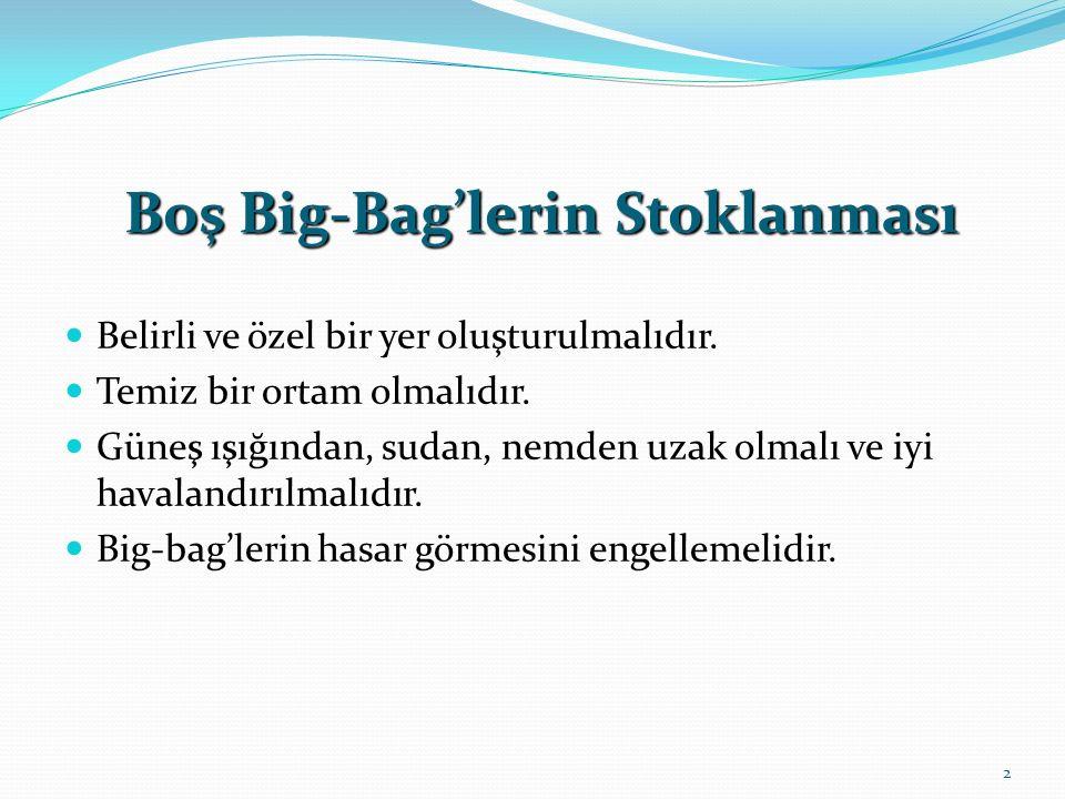 Boş Big-Bag'lerin Stoklanması Belirli ve özel bir yer oluşturulmalıdır.