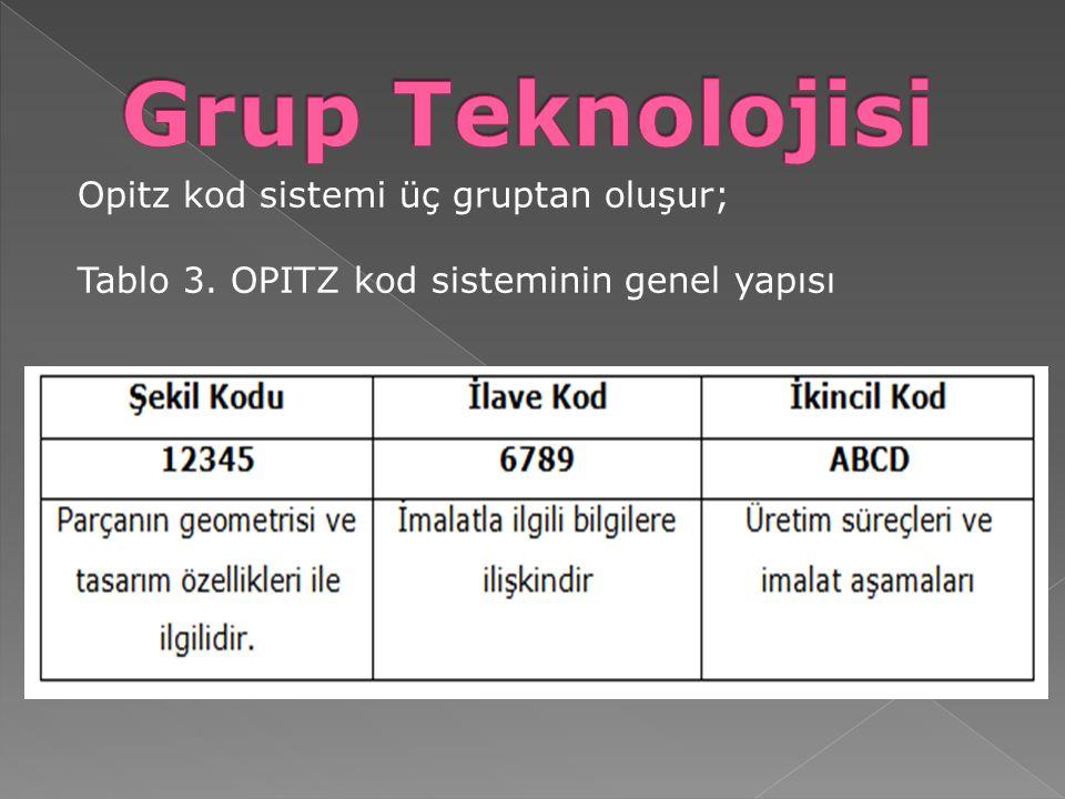 Opitz kod sistemi üç gruptan oluşur; Tablo 3. OPITZ kod sisteminin genel yapısı