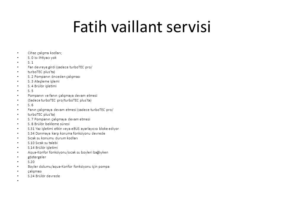 Fatih vaillant servisi Cihaz çalışma kodları; S.0 Isı ihtiyacı yok S.