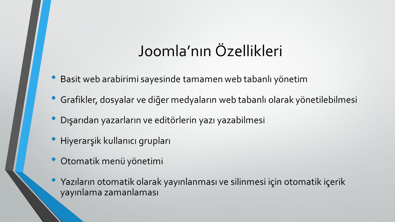 Joomla'nın Özellikleri Basit web arabirimi sayesinde tamamen web tabanlı yönetim Grafikler, dosyalar ve diğer medyaların web tabanlı olarak yönetilebilmesi Dışarıdan yazarların ve editörlerin yazı yazabilmesi Hiyerarşik kullanıcı grupları Otomatik menü yönetimi Yazıların otomatik olarak yayınlanması ve silinmesi için otomatik içerik yayınlama zamanlaması