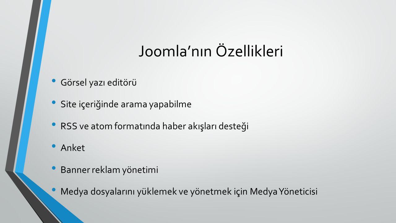 Joomla'nın Özellikleri Görsel yazı editörü Site içeriğinde arama yapabilme RSS ve atom formatında haber akışları desteği Anket Banner reklam yönetimi Medya dosyalarını yüklemek ve yönetmek için Medya Yöneticisi