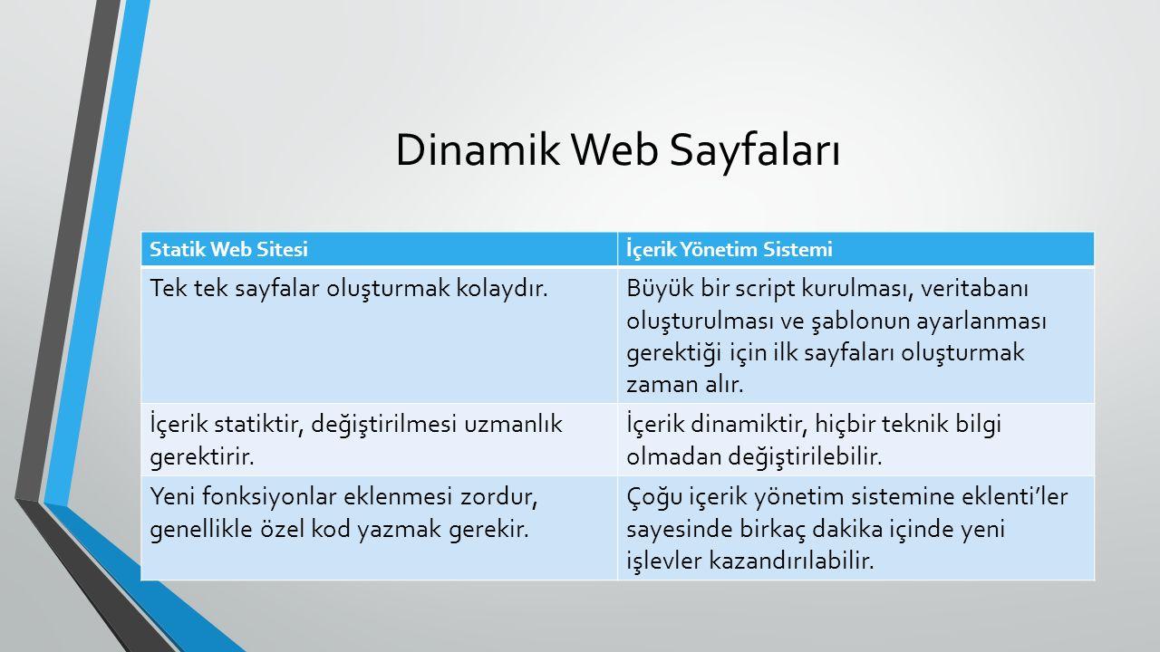 Dinamik Web Sayfaları Statik Web Sitesiİçerik Yönetim Sistemi Tek tek sayfalar oluşturmak kolaydır.Büyük bir script kurulması, veritabanı oluşturulması ve şablonun ayarlanması gerektiği için ilk sayfaları oluşturmak zaman alır.