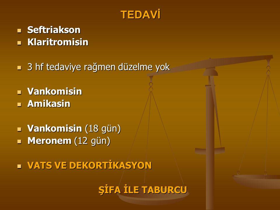 TEDAVİ Seftriakson Seftriakson Klaritromisin Klaritromisin 3 hf tedaviye rağmen düzelme yok 3 hf tedaviye rağmen düzelme yok Vankomisin Vankomisin Ami