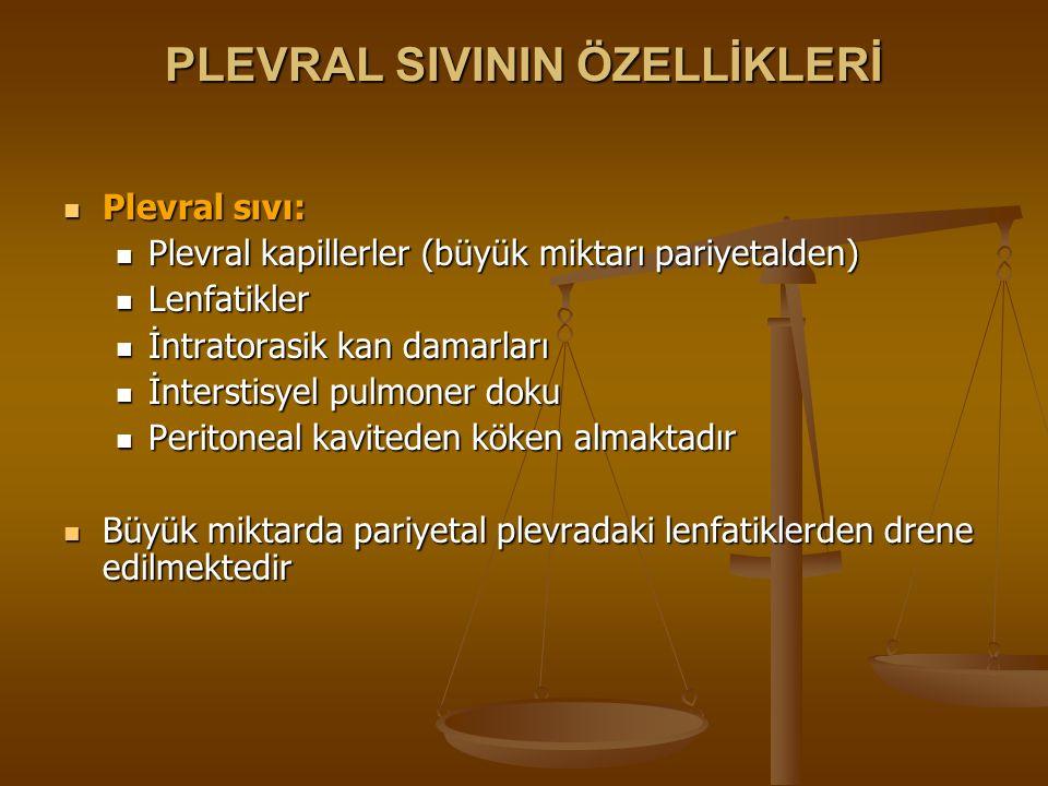 PLEVRAL SIVININ ÖZELLİKLERİ Plevral sıvı: Plevral sıvı: Plevral kapillerler (büyük miktarı pariyetalden) Plevral kapillerler (büyük miktarı pariyetald