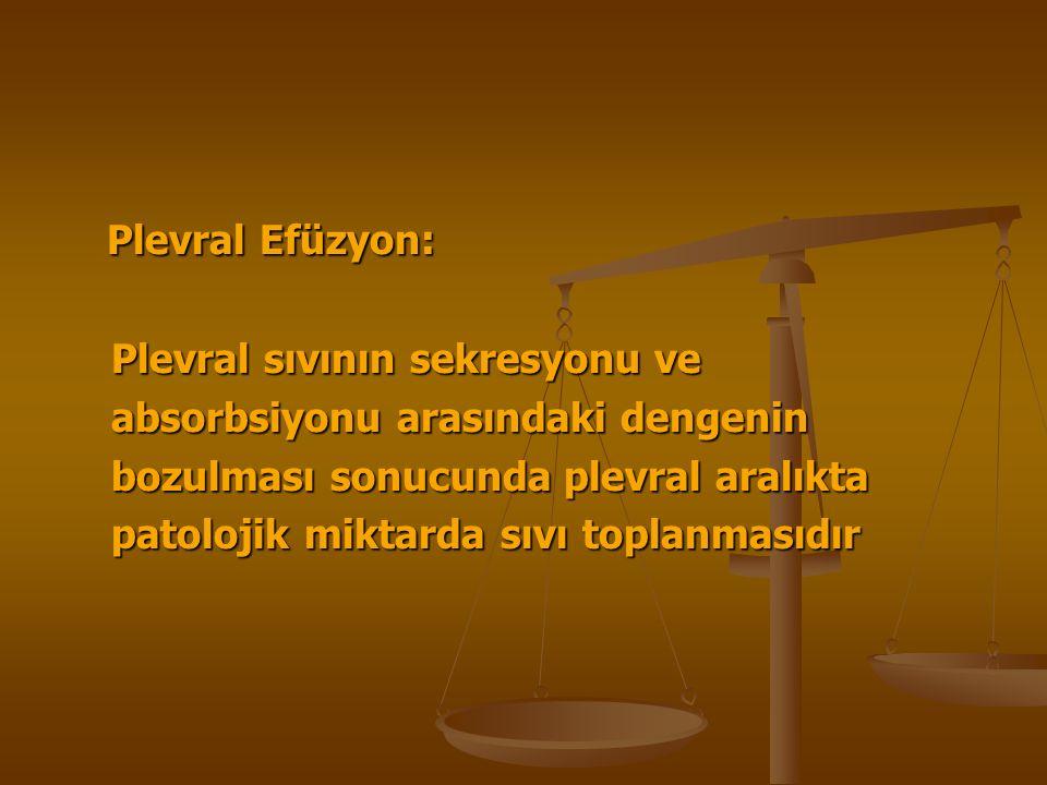 Plevral Efüzyon: Plevral Efüzyon: Plevral sıvının sekresyonu ve Plevral sıvının sekresyonu ve absorbsiyonu arasındaki dengenin absorbsiyonu arasındaki dengenin bozulması sonucunda plevral aralıkta bozulması sonucunda plevral aralıkta patolojik miktarda sıvı toplanmasıdır patolojik miktarda sıvı toplanmasıdır