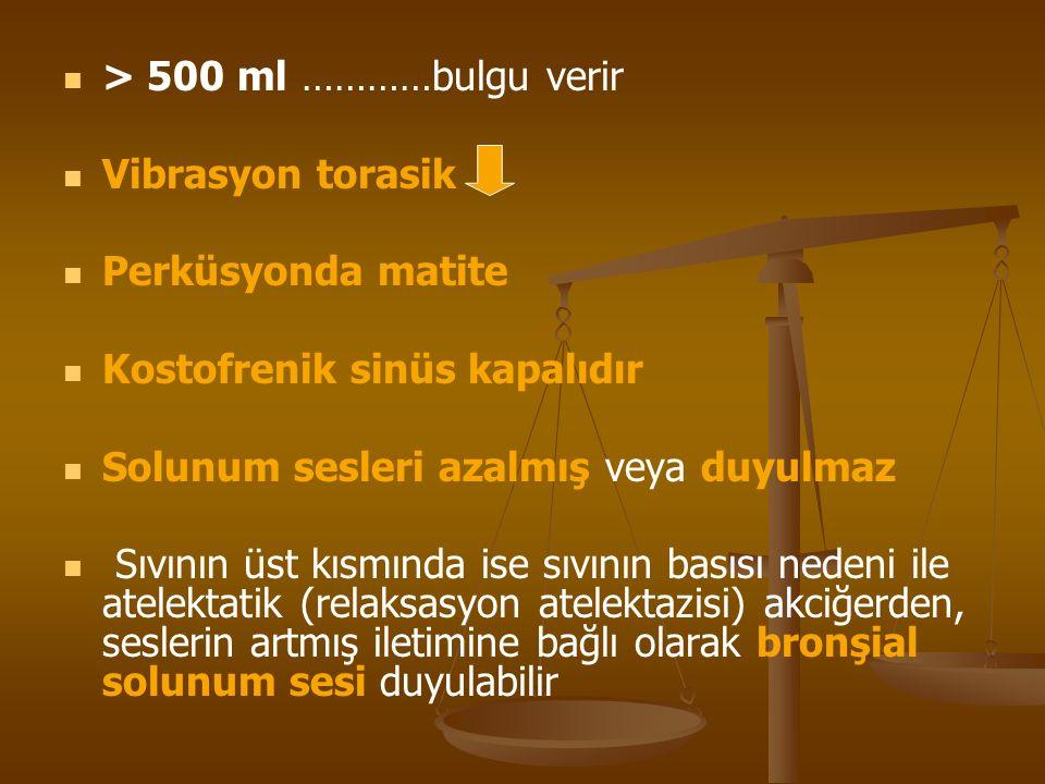 > 500 ml …………bulgu verir Vibrasyon torasik Perküsyonda matite Kostofrenik sinüs kapalıdır Solunum sesleri azalmış veya duyulmaz Sıvının üst kısmında i