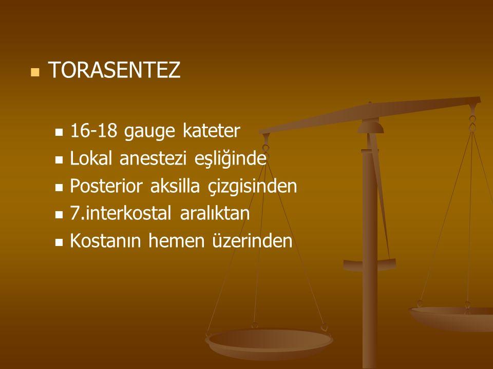 TORASENTEZ 16-18 gauge kateter Lokal anestezi eşliğinde Posterior aksilla çizgisinden 7.interkostal aralıktan Kostanın hemen üzerinden