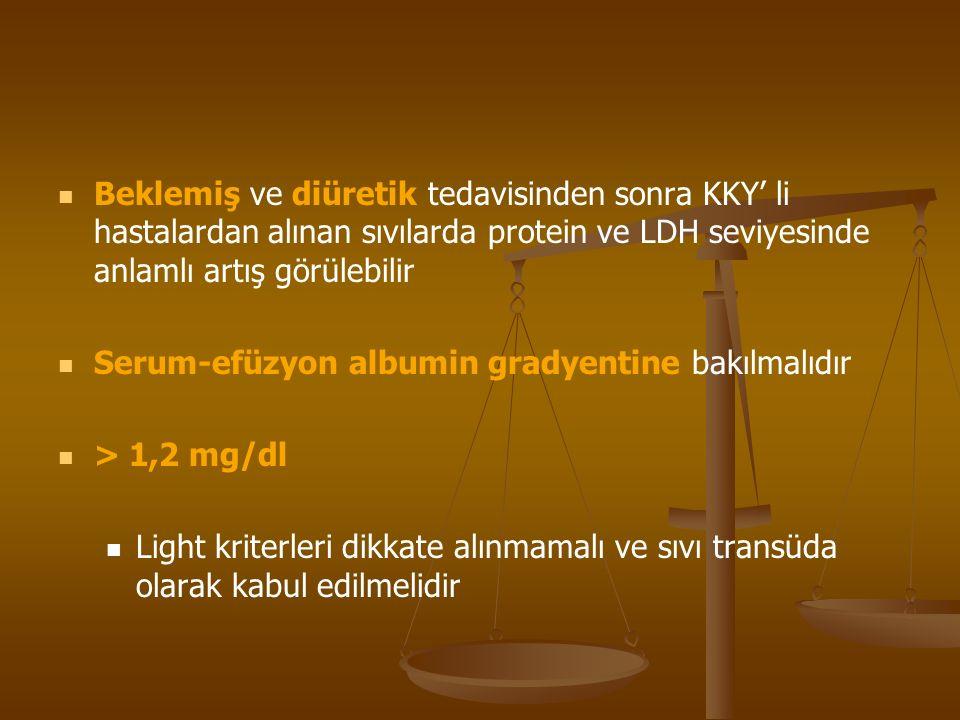Beklemiş ve diüretik tedavisinden sonra KKY' li hastalardan alınan sıvılarda protein ve LDH seviyesinde anlamlı artış görülebilir Serum-efüzyon albumin gradyentine bakılmalıdır > 1,2 mg/dl Light kriterleri dikkate alınmamalı ve sıvı transüda olarak kabul edilmelidir
