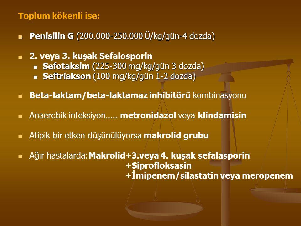 Toplum kökenli ise: Penisilin G (200.000-250.000 Ü/kg/gün-4 dozda) Penisilin G (200.000-250.000 Ü/kg/gün-4 dozda) 2.
