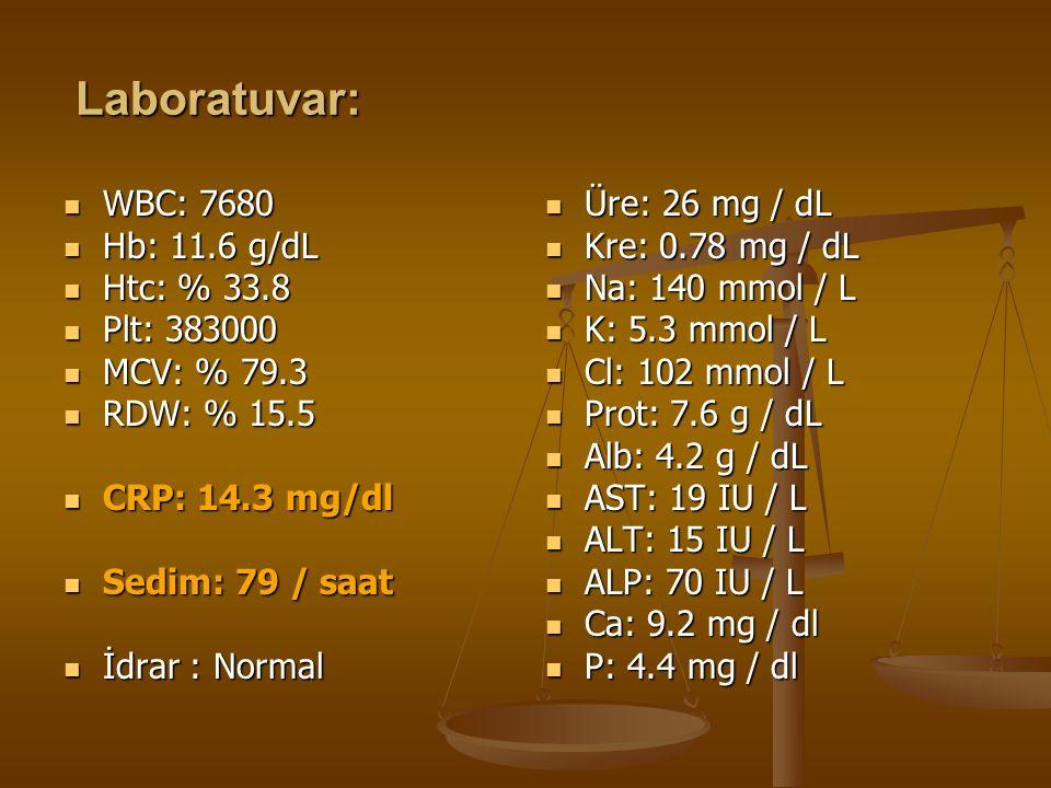 Laboratuvar: WBC: 7680 WBC: 7680 Hb: 11.6 g/dL Hb: 11.6 g/dL Htc: % 33.8 Htc: % 33.8 Plt: 383000 Plt: 383000 MCV: % 79.3 MCV: % 79.3 RDW: % 15.5 RDW: