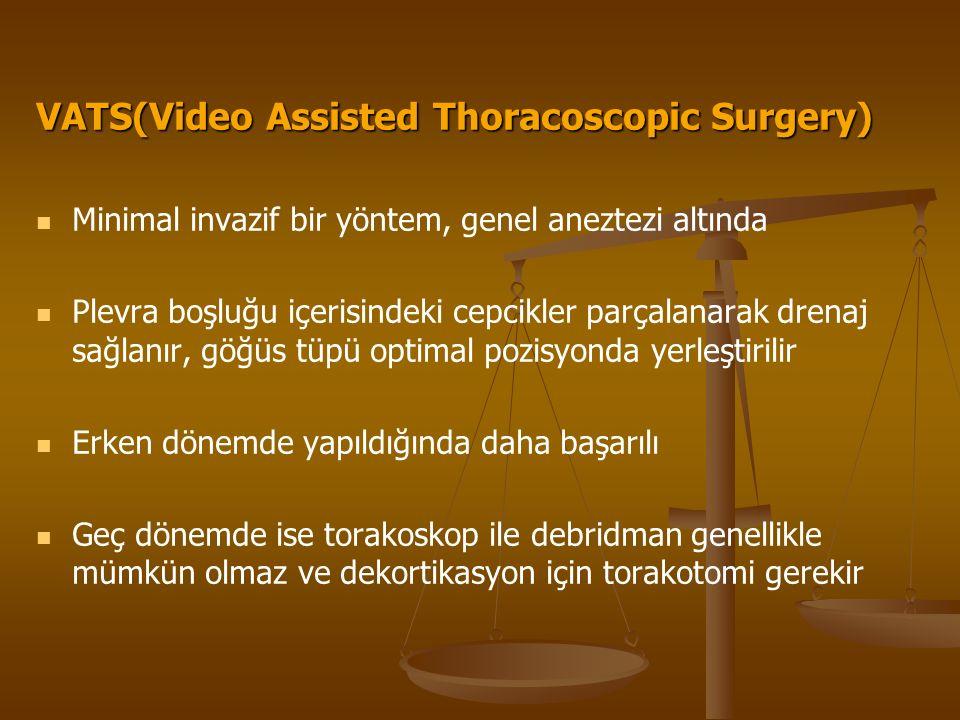 VATS(Video Assisted Thoracoscopic Surgery) Minimal invazif bir yöntem, genel aneztezi altında Plevra boşluğu içerisindeki cepcikler parçalanarak drenaj sağlanır, göğüs tüpü optimal pozisyonda yerleştirilir Erken dönemde yapıldığında daha başarılı Geç dönemde ise torakoskop ile debridman genellikle mümkün olmaz ve dekortikasyon için torakotomi gerekir