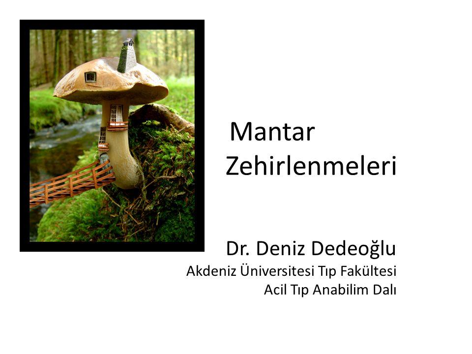 Mantar Zehirlenmeleri Dr. Deniz Dedeoğlu Akdeniz Üniversitesi Tıp Fakültesi Acil Tıp Anabilim Dalı
