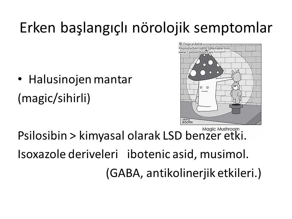 Erken başlangıçlı nörolojik semptomlar Halusinojen mantar (magic/sihirli) Psilosibin > kimyasal olarak LSD benzer etki. Isoxazole deriveleri ibotenic