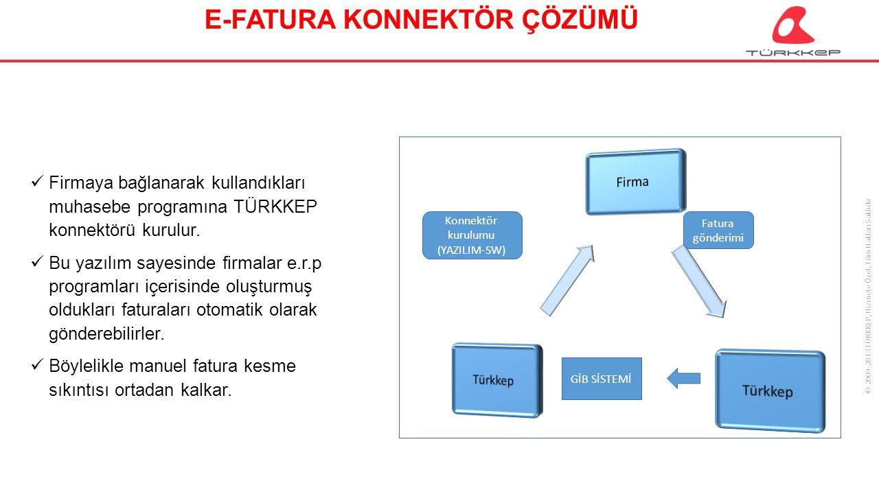 © 2009-2013 TÜRKKEP, Hizmete Özel, Tüm Hakları Saklıdır E-FATURA KONNEKTÖR ÇÖZÜMÜ Firmaya bağlanarak kullandıkları muhasebe programına TÜRKKEP konnekt