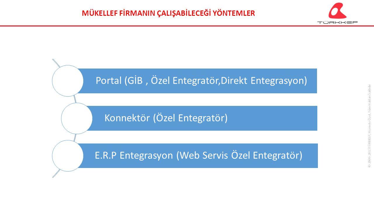 © 2009-2013 TÜRKKEP, Hizmete Özel, Tüm Hakları Saklıdır Portal (GİB, Özel Entegratör,Direkt Entegrasyon) Konnektör (Özel Entegratör) E.R.P Entegrasyon