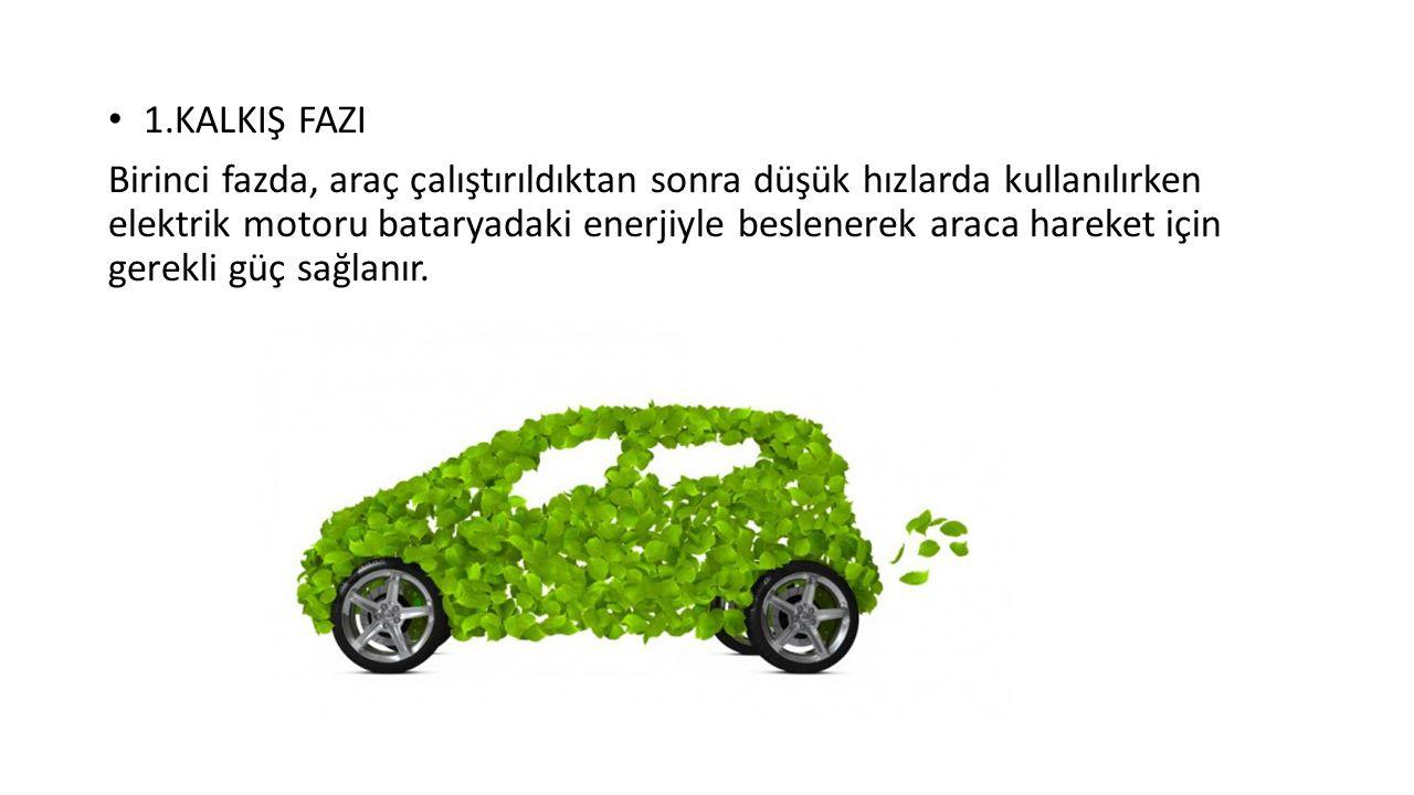 1.KALKIŞ FAZI Birinci fazda, araç çalıştırıldıktan sonra düşük hızlarda kullanılırken elektrik motoru bataryadaki enerjiyle beslenerek araca hareket için gerekli güç sağlanır.