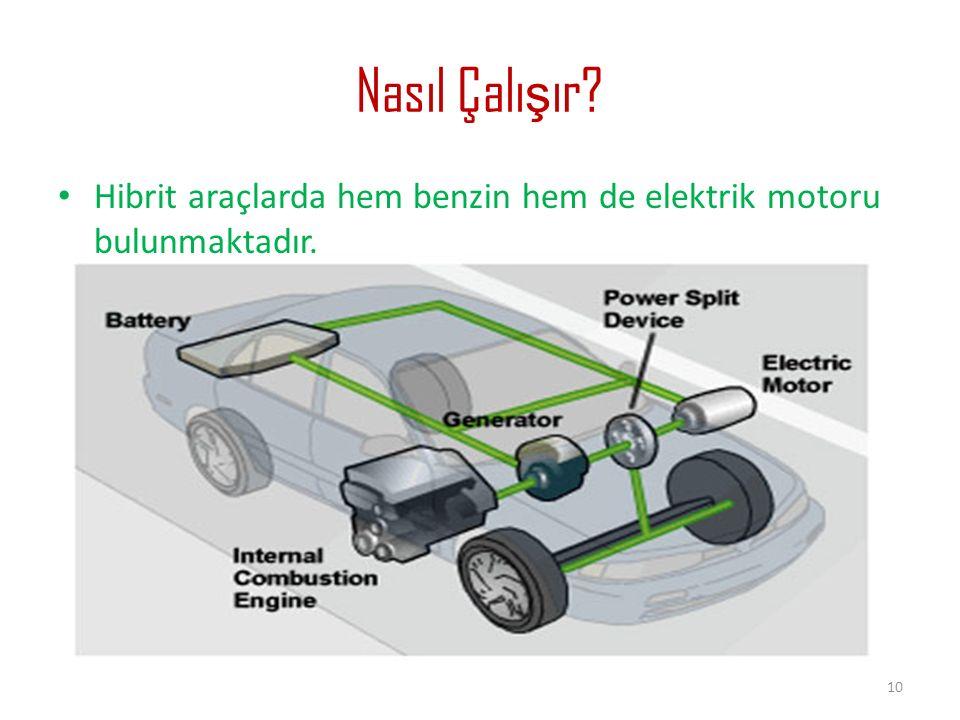 Nasıl Çalı ş ır? Hibrit araçlarda hem benzin hem de elektrik motoru bulunmaktadır. 10