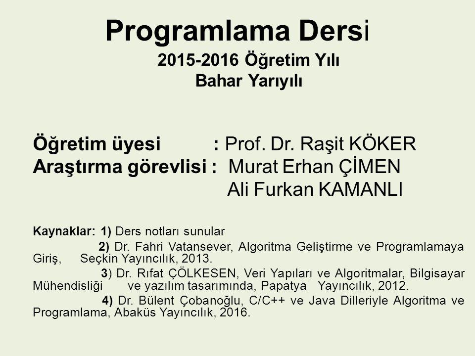 Programlama Dersi 2015-2016 Öğretim Yılı Bahar Yarıyılı Öğretim üyesi : Prof. Dr. Raşit KÖKER Araştırma görevlisi : Murat Erhan ÇİMEN Ali Furkan KAMAN