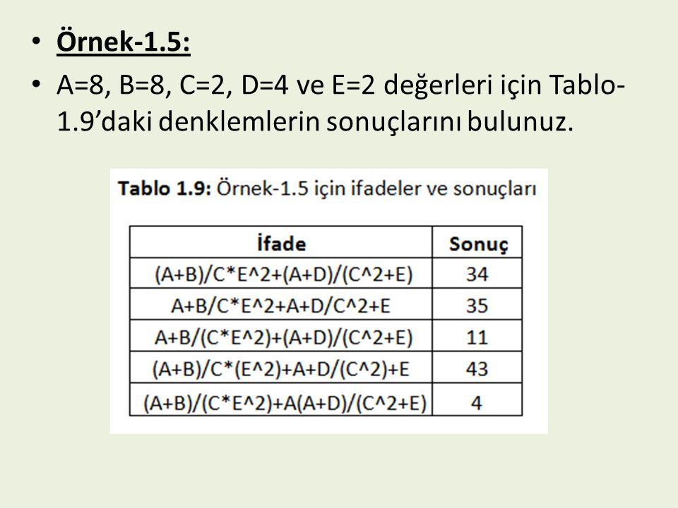Örnek-1.5: A=8, B=8, C=2, D=4 ve E=2 değerleri için Tablo- 1.9'daki denklemlerin sonuçlarını bulunuz.