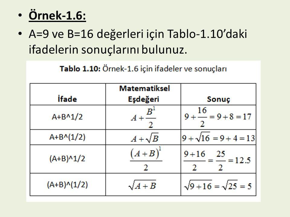 Örnek-1.6: A=9 ve B=16 değerleri için Tablo-1.10'daki ifadelerin sonuçlarını bulunuz.