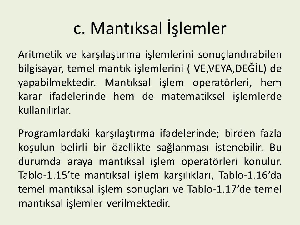 c. Mantıksal İşlemler Aritmetik ve karşılaştırma işlemlerini sonuçlandırabilen bilgisayar, temel mantık işlemlerini ( VE,VEYA,DEĞİL) de yapabilmektedi