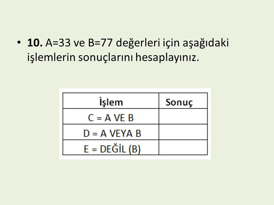 10. A=33 ve B=77 değerleri için aşağıdaki işlemlerin sonuçlarını hesaplayınız.