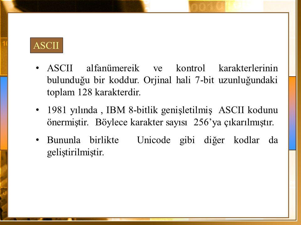 ASCII ASCII alfanümereik ve kontrol karakterlerinin bulunduğu bir koddur. Orjinal hali 7-bit uzunluğundaki toplam 128 karakterdir. 1981 yılında, IBM 8