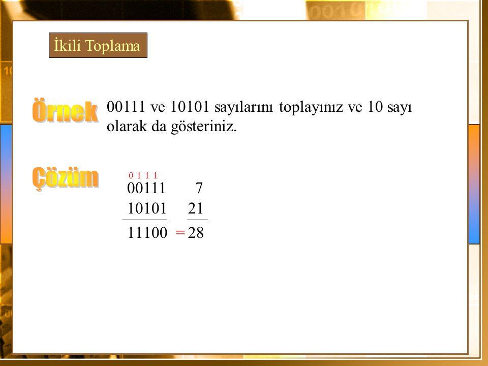 00111 ve 10101 sayılarını toplayınız ve 10 sayı olarak da gösteriniz. 00111 7 10101 21 0 1 0 1 1 1 1 0 128= İkili Toplama
