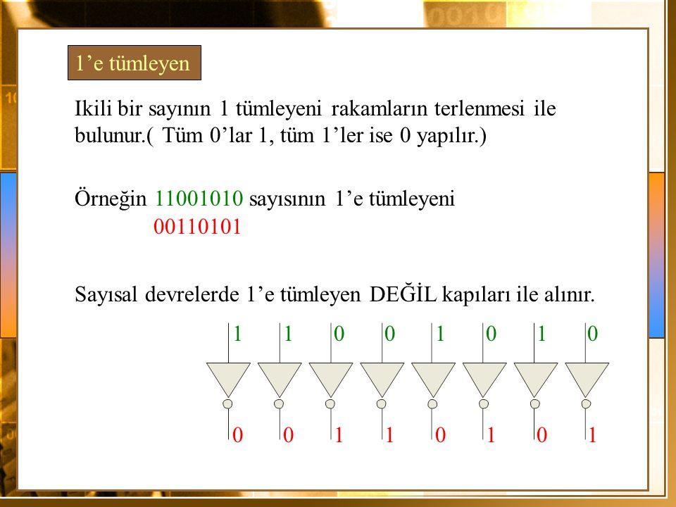 1'e tümleyen Ikili bir sayının 1 tümleyeni rakamların terlenmesi ile bulunur.( Tüm 0'lar 1, tüm 1'ler ise 0 yapılır.) Örneğin 11001010 sayısının 1'e tümleyeni 00110101 Sayısal devrelerde 1'e tümleyen DEĞİL kapıları ile alınır.