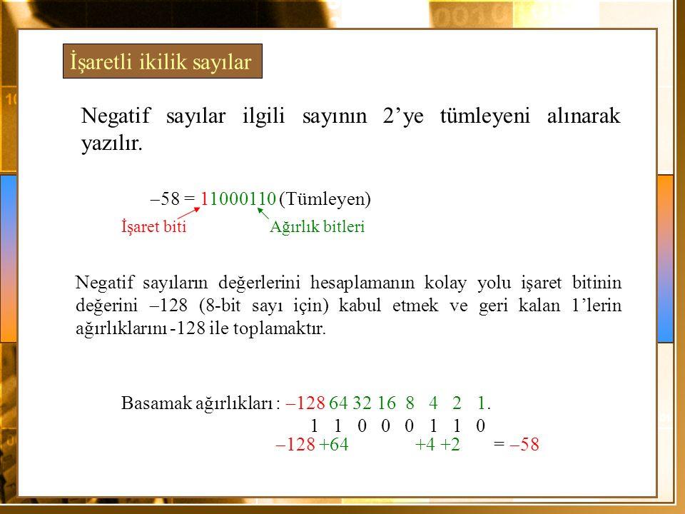 1 1 0 0 0 1 1 0 Basamak ağırlıkları :  128 64 32 16 8 4 2 1.  128 +64 +4 +2 =  58 Negatif sayılar ilgili sayının 2'ye tümleyeni alınarak yazılır. 