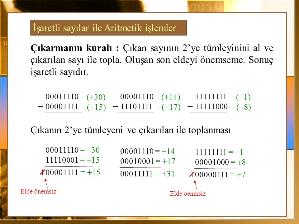 Çıkarmanın kuralı : Çıkan sayının 2'ye tümleyinini al ve çıkarılan sayı ile topla. Oluşan son eldeyi önemseme. Sonuç işaretli sayıdır. 00001111= +151