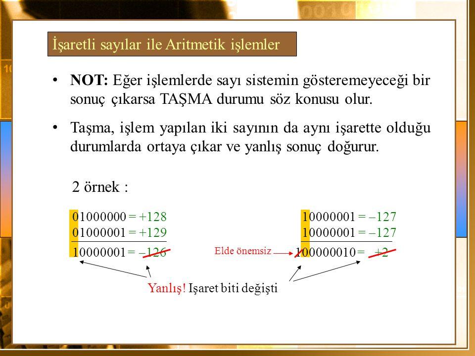 01000000 = +128 01000001 = +129 10000001 =  126 10000001 =  127 100000010= +2 NOT: Eğer işlemlerde sayı sistemin gösteremeyeceği bir sonuç çıkarsa TAŞMA durumu söz konusu olur.