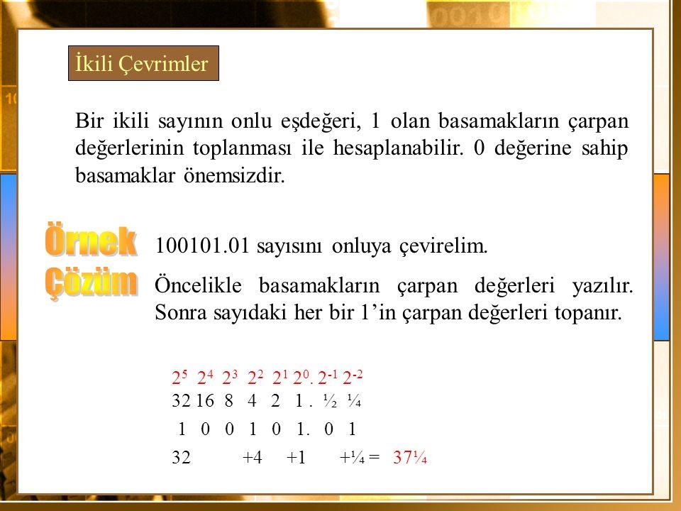 İkili Çevrimler Bir ikili sayının onlu eşdeğeri, 1 olan basamakların çarpan değerlerinin toplanması ile hesaplanabilir.