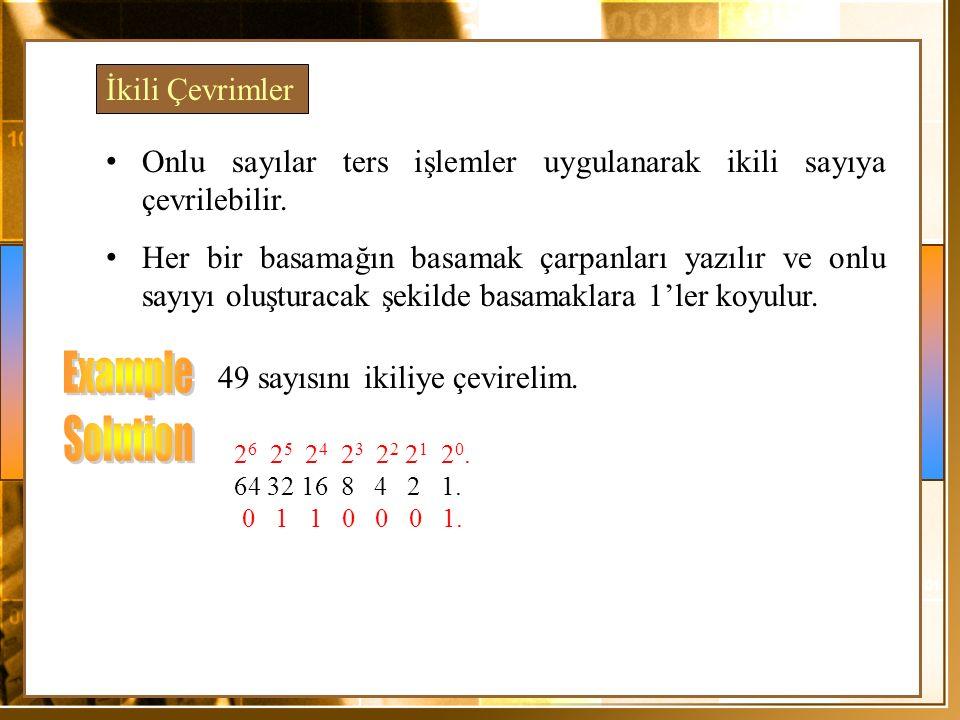 Onlu sayılar ters işlemler uygulanarak ikili sayıya çevrilebilir. Her bir basamağın basamak çarpanları yazılır ve onlu sayıyı oluşturacak şekilde basa