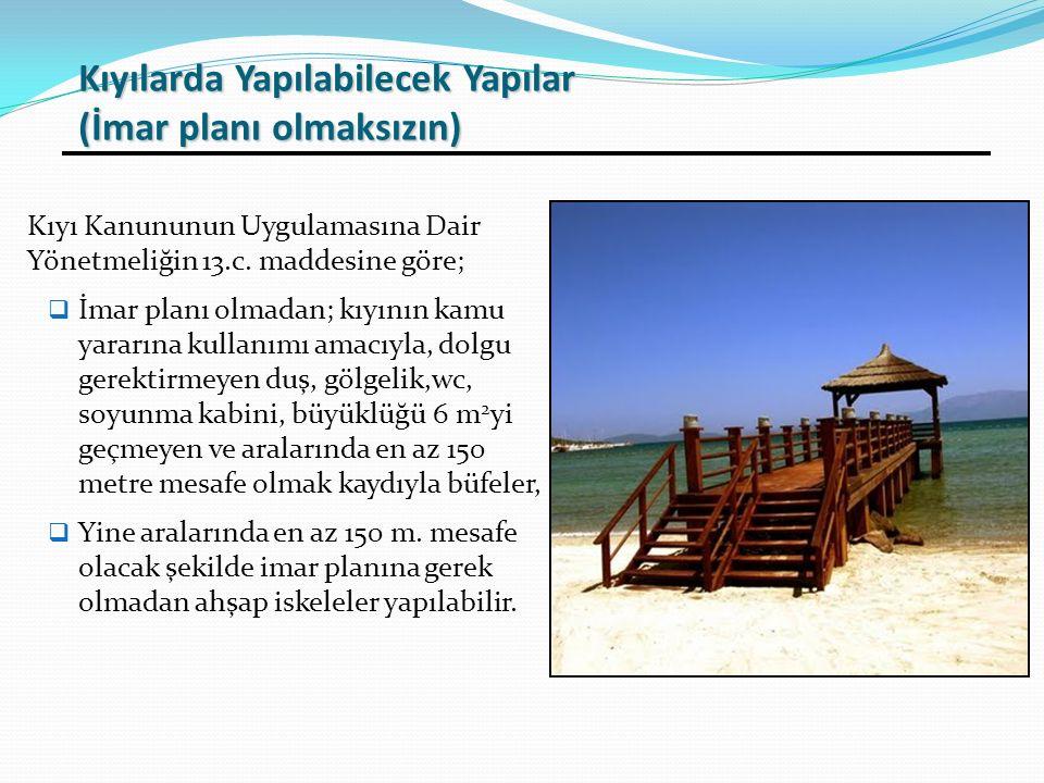 Kıyı Kanununun Uygulamasına Dair Yönetmeliğin 13.c. maddesine göre;  İmar planı olmadan; kıyının kamu yararına kullanımı amacıyla, dolgu gerektirmeye