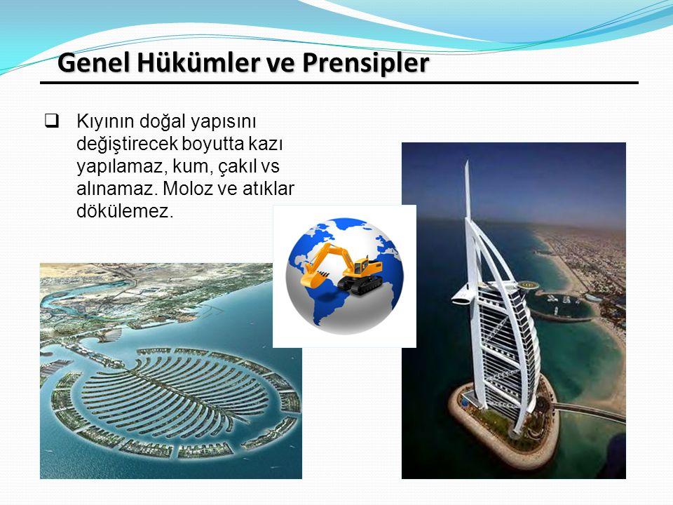 Genel Hükümler ve Prensipler  Kıyının doğal yapısını değiştirecek boyutta kazı yapılamaz, kum, çakıl vs alınamaz. Moloz ve atıklar dökülemez.