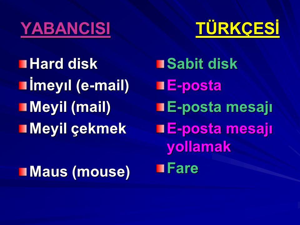 YABANCISI TÜRKÇESİ Hard disk İmeyıl (e-mail) Meyil (mail) Meyil çekmek Maus (mouse) Sabit disk E-posta E-posta mesajı E-posta mesajı yollamak Fare
