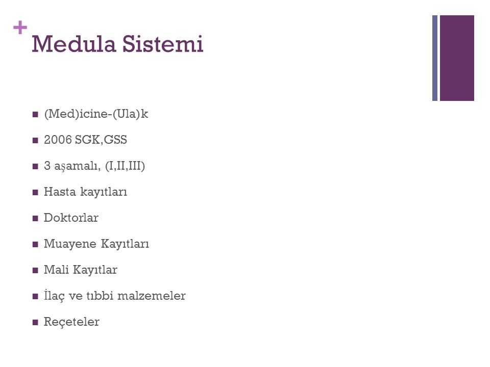 + Medula Sistemi (Med)icine-(Ula)k 2006 SGK,GSS 3 a ş amalı, (I,II,III) Hasta kayıtları Doktorlar Muayene Kayıtları Mali Kayıtlar İ laç ve tıbbi malzemeler Reçeteler