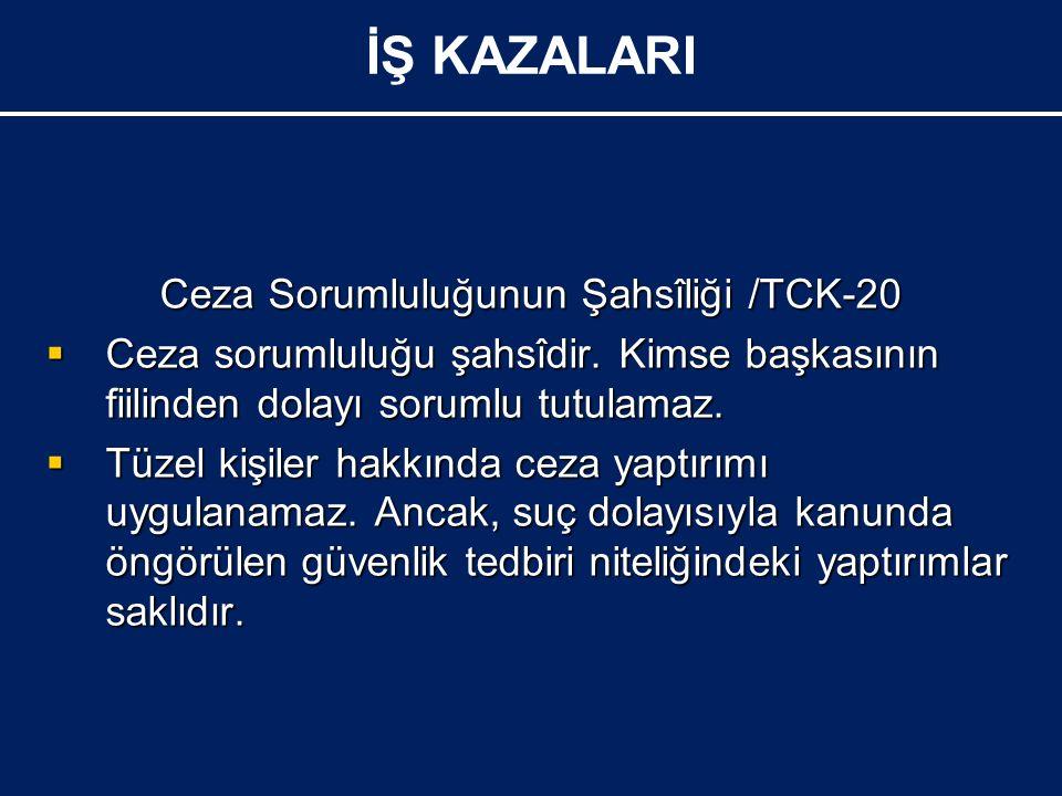 Ceza Sorumluluğunun Şahsîliği /TCK-20  Ceza sorumluluğu şahsîdir.