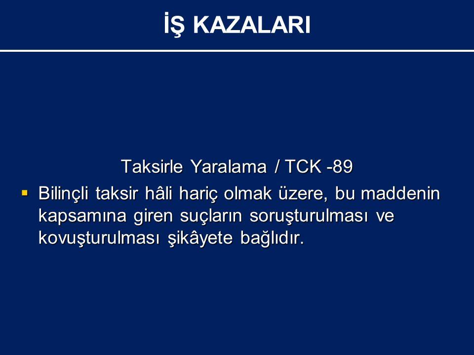 Taksirle Yaralama / TCK -89  Bilinçli taksir hâli hariç olmak üzere, bu maddenin kapsamına giren suçların soruşturulması ve kovuşturulması şikâyete bağlıdır.