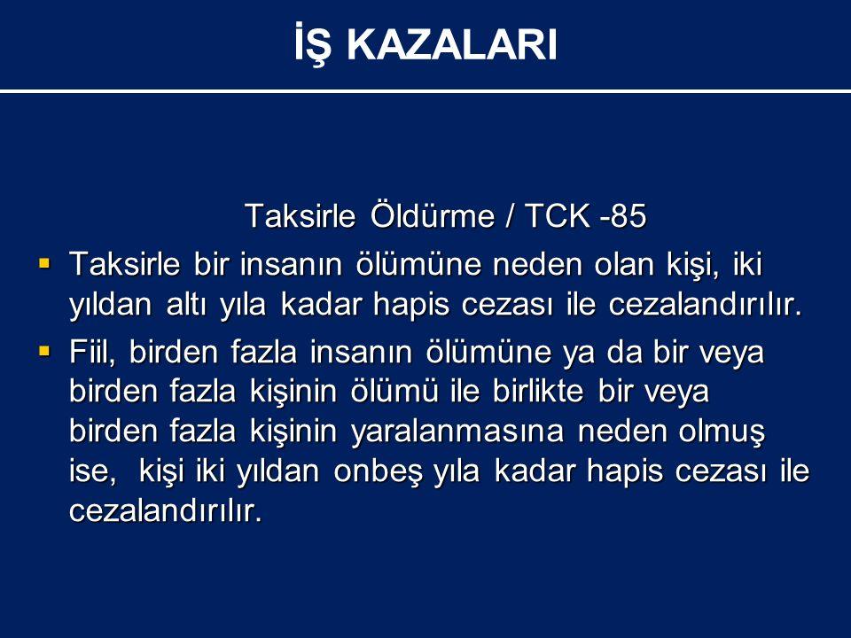 Taksirle Öldürme / TCK -85 Taksirle Öldürme / TCK -85  Taksirle bir insanın ölümüne neden olan kişi, iki yıldan altı yıla kadar hapis cezası ile cezalandırılır.